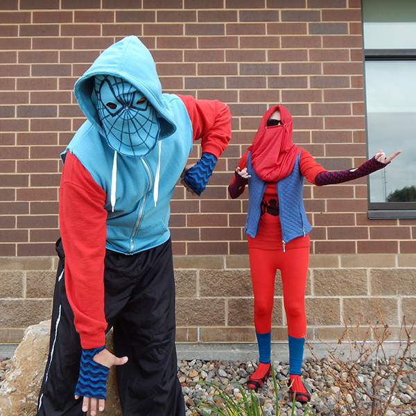 Tammy, right, participated in a Spiderman costume challenge with the Goodwill retail team in 2017.