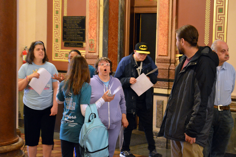 Day Services participants view the interior of the Rotunda.