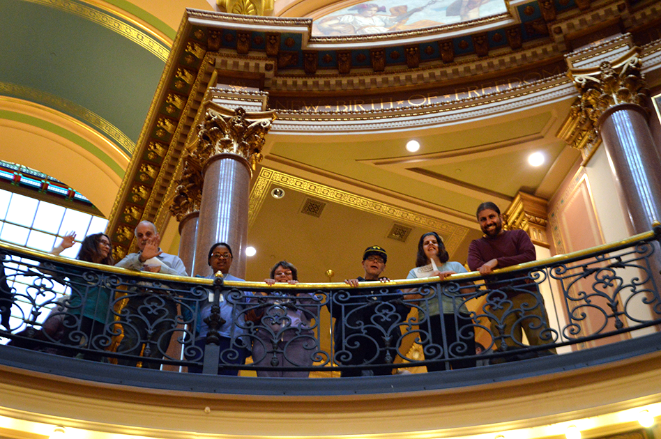 Participants from Day Services poses in the Capitol's rotunda.