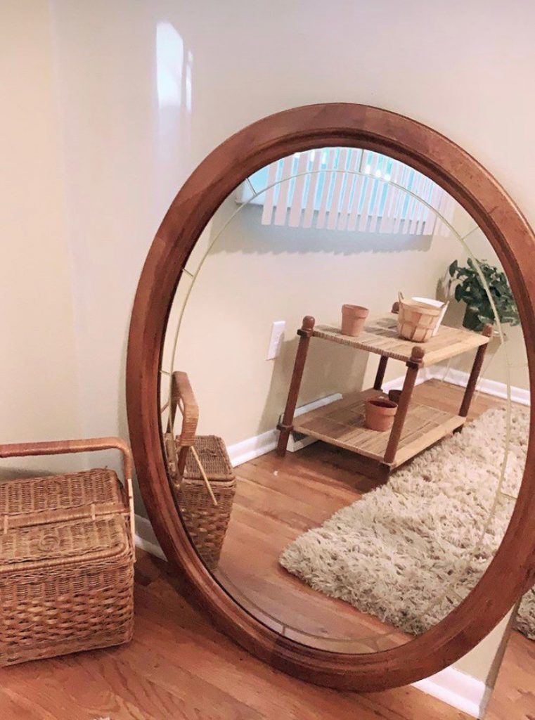 Mirror and basket thrifted from Goodwill in Des Moines area.